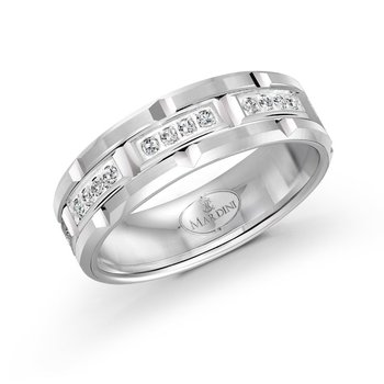 7mm all white gold brick motif band, embelished with 32X0.01CT diamonds