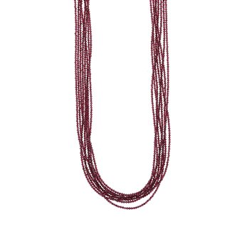 Eight Strand 2Mm Garnet Beaded Necklace