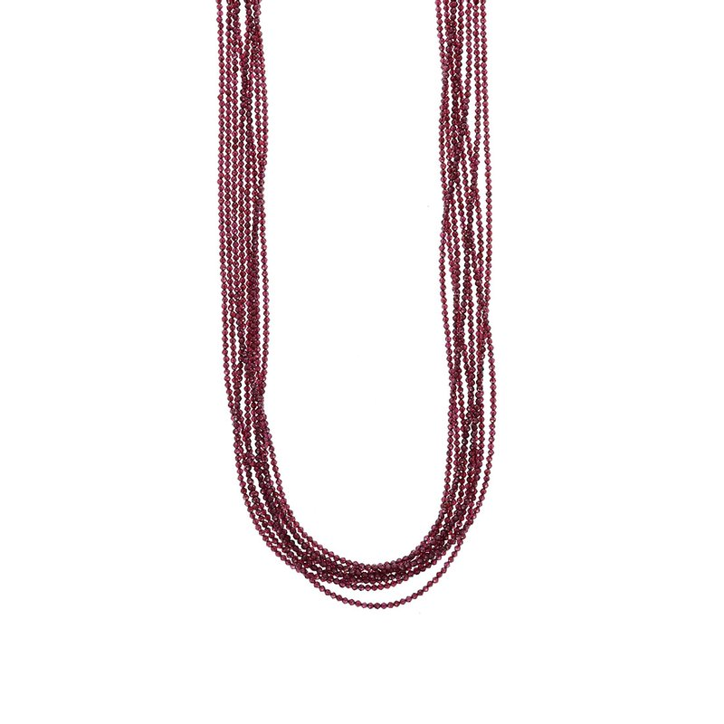 King Baby Eight Strand 2Mm Garnet Beaded Necklace