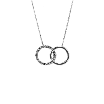 18KT WHITE GOLD DOUBLE CIRCLE DIAMOND PENDANT