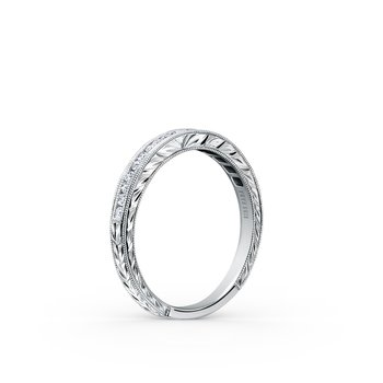 Channel Set Engraved Milgrain Diamond Wedding Band