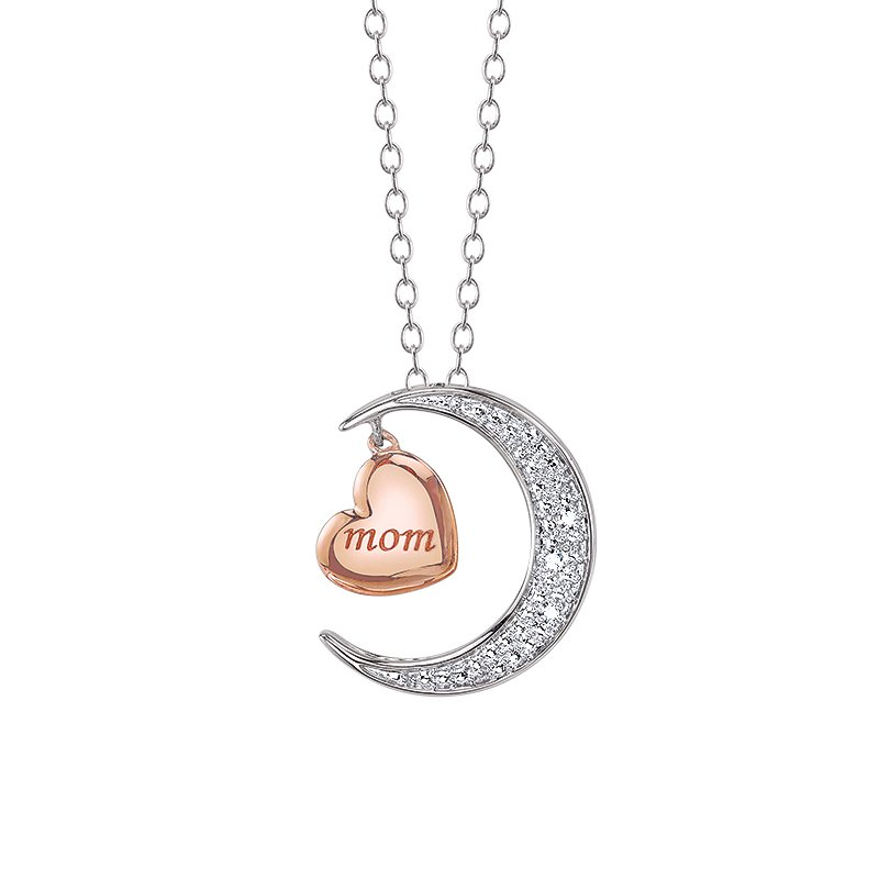 Simmons & Clark Two Hearts Collection Moon and Back Pendant