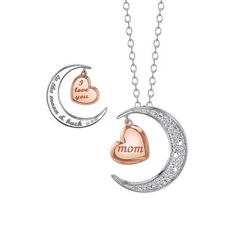 "Mom ""I love you to the Moon & Back"" Heart & Moon Pendant"