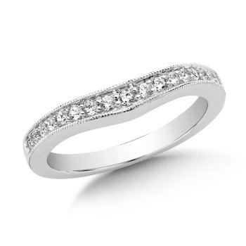 Curved Diamond Wedding Band 14k White Gold (1/4ct. tw.)