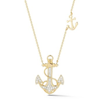 "Delicate Diamond anchor in 14K T.W 0.16ct 3/4"" long by 1/2"" wide"