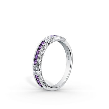 Kirk Kara 18K White Gold Diamond Amethyst Engraved Band