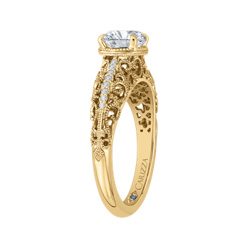14K Yellow Gold Round Diamond Engagement Ring (Semi-Mount)