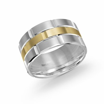 Trendy 11mm white and yellow gold brick motif satin finish band with high polished grooved accents