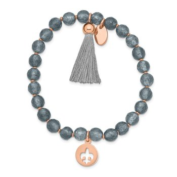 Stainless Steel Polished Rose IP Fleur de Lis Grey Agate Stretch Bracelet