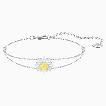 Sunshine Bracelet, White, Rhodium plated