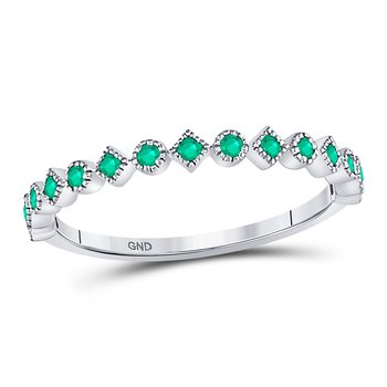 10kt White Gold Womens Round Emerald Square Dot Stackable Band Ring 1/5 Cttw