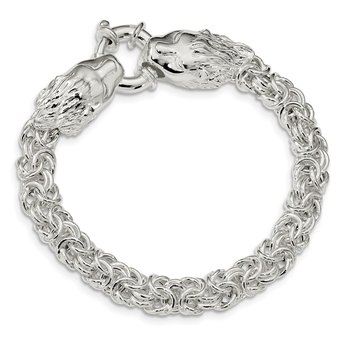 Sterling Silver Polished Fancy Link Lion Head 7.25 inch Bracelet