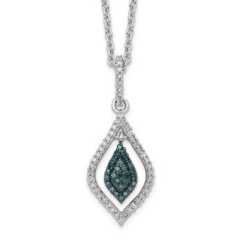 Sterling Silver Rhod Plated Blue and White Diamond Pendant Necklace