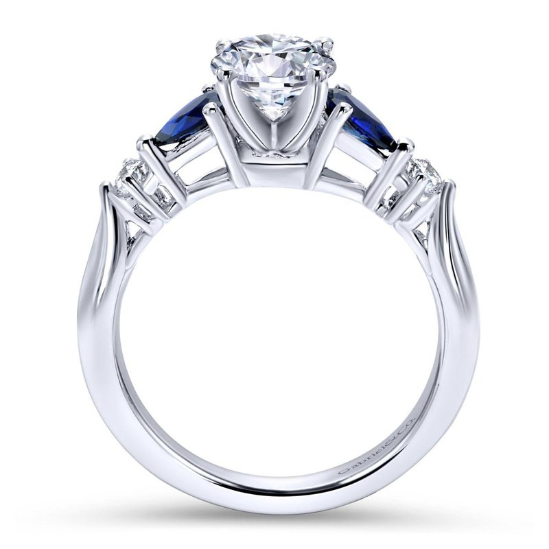 Gabriel Bridal 14K White Gold Round Three Stone Sapphire and Diamond Engagement Ring