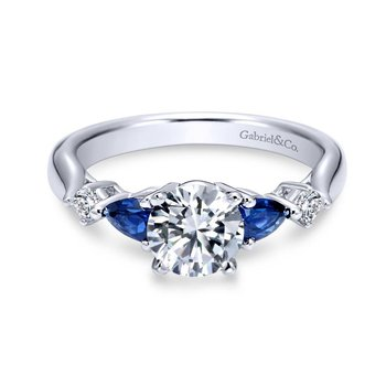 14k White Gold Diamond And Sapphire Twisted Shank Engagement Ring with Rounded Shank