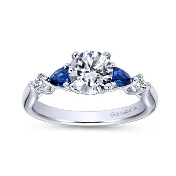 14K White Gold Round Three Stone Sapphire and Diamond Engagement Ring