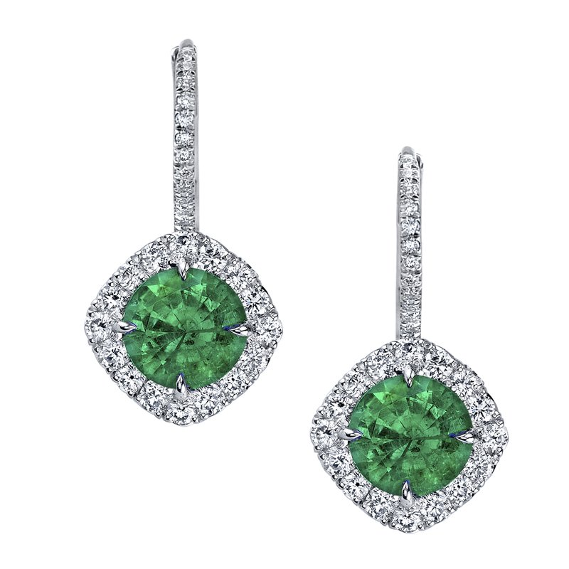 Omi Prive Emerald and Diamond Earrings