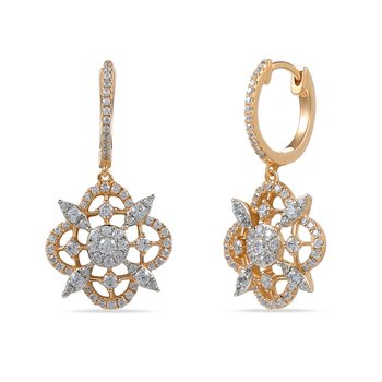 14K Flower motif earrings 132 Diamonds .099C