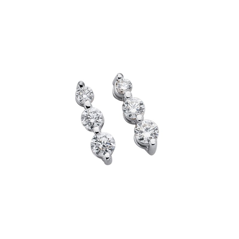 S. Kashi  & Sons Three Stone Diamond Earring