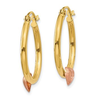14K Yellow & Rose Gold Heart Hoop Earrings