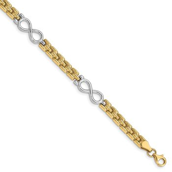14K Two-tone Polished Infinity Bracelet
