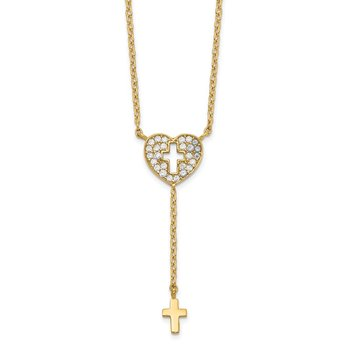 14K Heart with Cross CZ Necklace