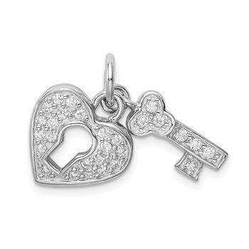 Sterling Silver Rhodium-plated CZ Heart Lock & Key Charm