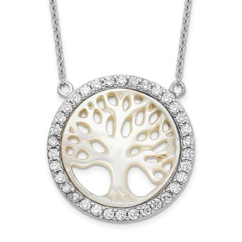 Sterling Silver Rhodium-plated MOP Tree w/CZ w/2in ext. Necklace