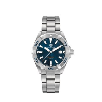 Aquaracer Steel Watch. The 41 mm Quartz Watch Has A Blue Dial, Steel Rotating Bezel And A Steel Bracelet With Folding Clasp And Wet-Suit Extension. Model WBD1112.
