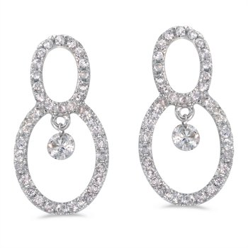 14K White Gold .70 ct Dashing Diamonds Earrings