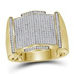 Kingdom Treasures 10kt Yellow Gold Mens Round Diamond Pointed Symmetrical Cluster Ring 5/8 Cttw