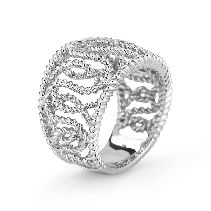 Shula NY Sterling Silver Pave Diamond Ring