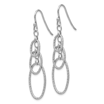 Leslie's Sterling Silver Textured Dangle Shepherd Hook Earrings