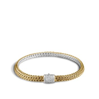 Classic Chain 5MM Reversible Bracelet, Silver, 18K, Diamonds