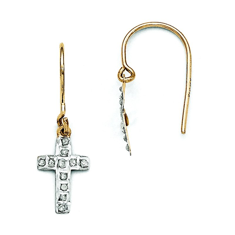14k Diamond Fascination Cross Earrings