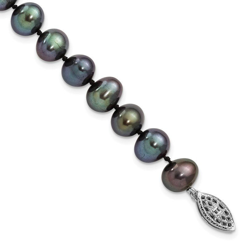 Quality Gold Sterling Silver Rhodium-plated 7-8mm Black FW Cultured Pearl Necklace