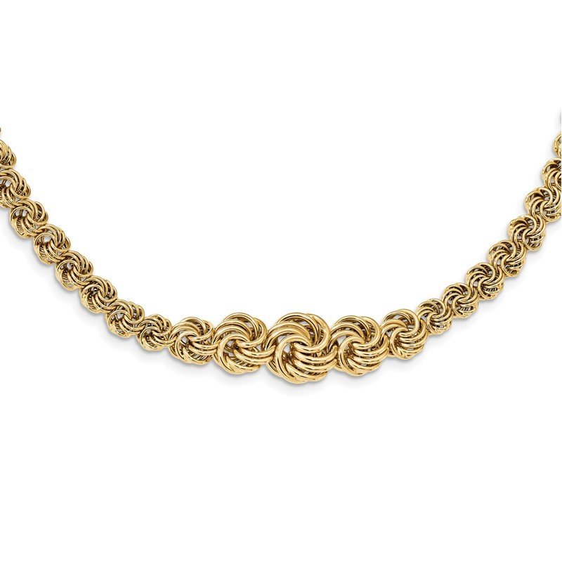 Quality Gold 14k Polished Fancy Link 17.5in Necklace