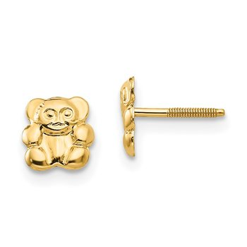 14k Madi K Polished Teddy Bear Screwback Earrings