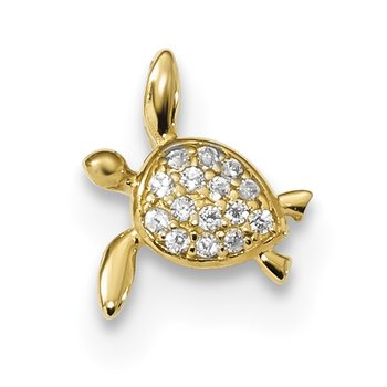 14k Childrens CZ Sea Turtle Chain Slide