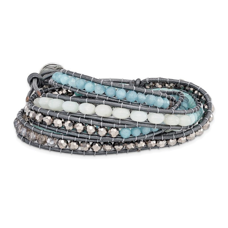 Quality Gold Aquamarine/Blue Quartz/Crystal/Leather Multi-wrap Bracelet