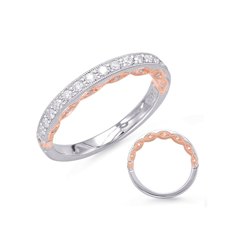 MAZZARESE Bridal Rose & White Gold Matching Band