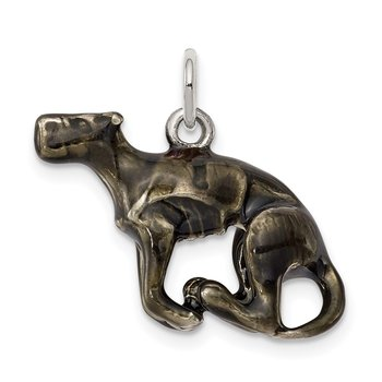 Silver Enamel Medium Greyhound Charm
