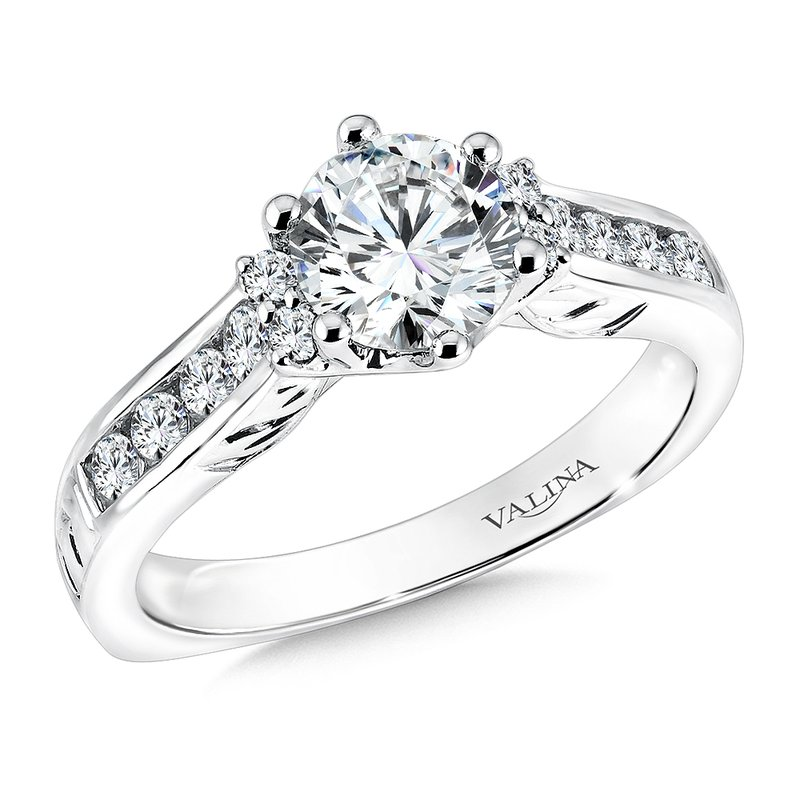 Valina Bridals Mounting with side stones .42 ct. tw., 1 ct. round center.