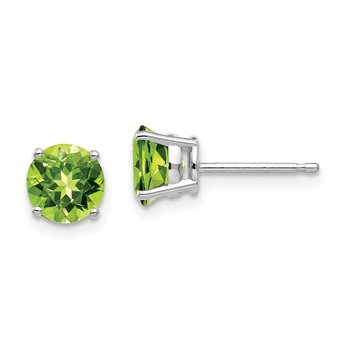 14k White Gold 6mm Peridot Earrings