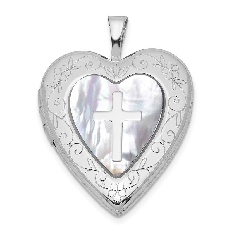 Quality Gold Sterling Silver Rhodium-plated 20mm Mother Of Pearl Cross Heart Locket