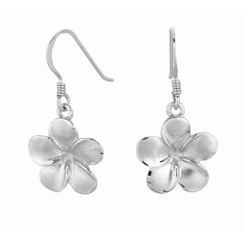 Silver Polished Flower Dangle Earrings