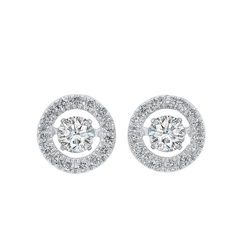 Gems One 14K White Gold Rhythm of Love Halo Prong Diamond Earrings (1/2 ct. tw.)