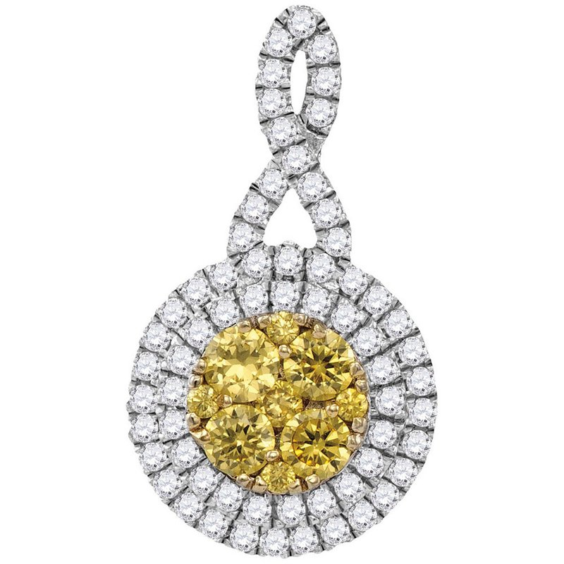 Gold-N-Diamonds 14kt White Gold Womens Round Yellow Diamond Concentric Circle Frame Cluster Pendant 1.00 Cttw