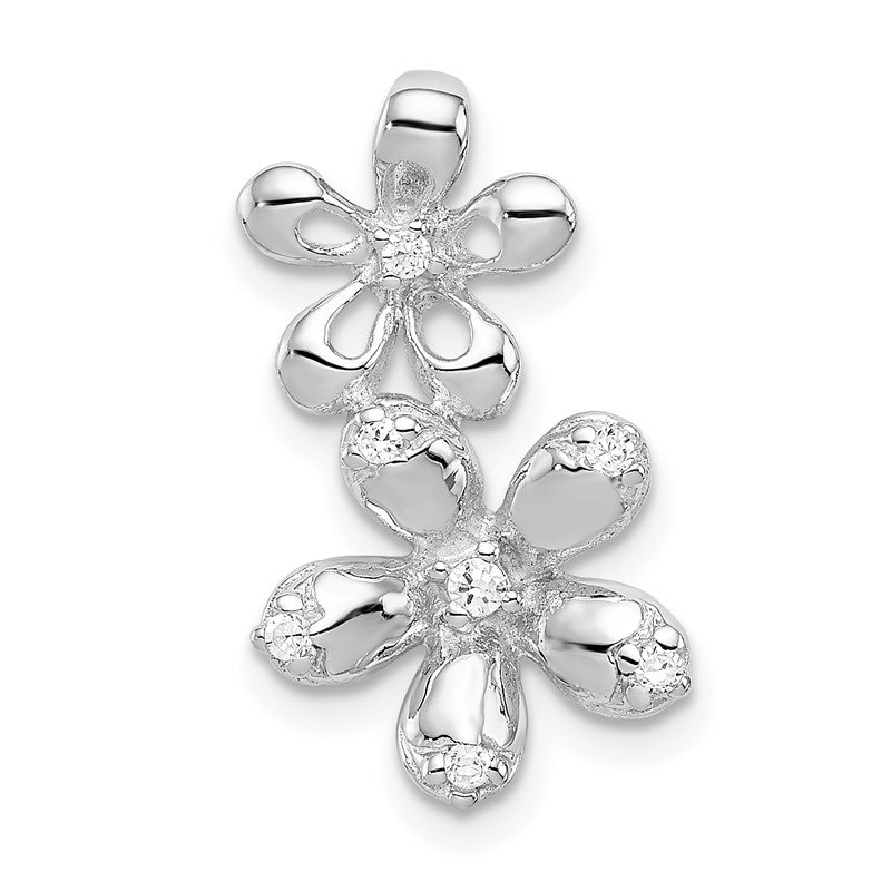 Quality Gold Sterling Silver Rhodium-plated CZ 2-Flower Chain Slide