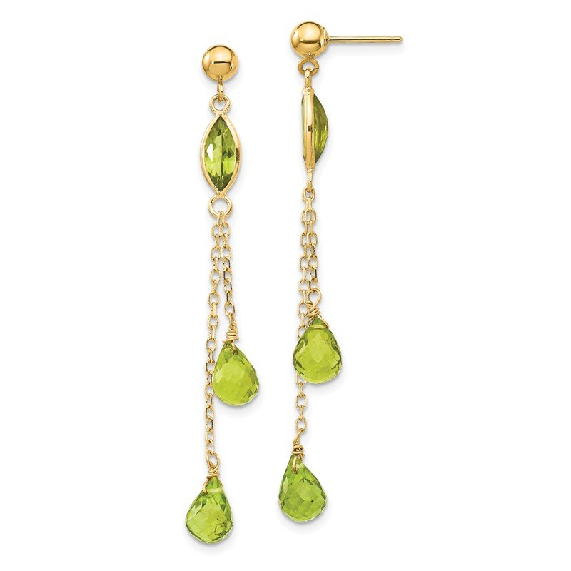 Quality Gold 14k Peridot Dangle Earrings
